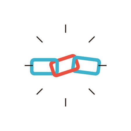 conectar: Icono de la línea delgada con elemento plano de diseño de construcción de enlaces SEO, cadena de eslabones, conexión a Internet, el proceso de optimización de hipervínculo, la comunicación global. Logotipo del estilo de ilustración vectorial moderno concepto.