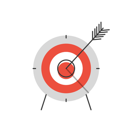 Thin line icon with flat design element of success target focus group, aiming for objective market, direct hit in bull's eye, opportunity solving problems. Modern style logo vector illustration concept.