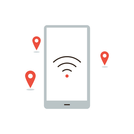 coverage: Thin line icon with flat design element of wifi access point, coverage zone, wireless hotspot places, internet connection, smartphone distributes signal. Modern style logo vector illustration concept.