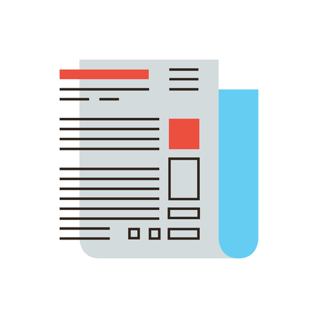 Thin line icon with flat design element of abstract newspaper front page, internet blogging, latest hot news, interesting article. Modern style logo vector illustration concept.