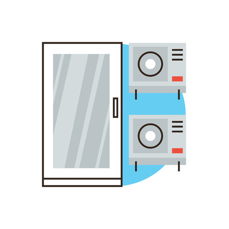 acclimatization: Thin line icon with flat design element of air conditioner system, fan conditioning, cool wind, home climate control, comfortable condition temperature. Modern style logo vector illustration concept. Illustration