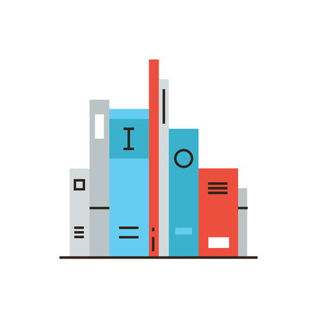 shelf with books: Thin line icon with flat design element of shelf with books, science fiction literature, bookshelf with education information, learn from textbook. Modern style logo vector illustration concept.