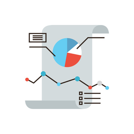 llano: Icono de línea delgada con elemento plano de diseño de infografías de negocio, documento en papel financiero, informe de empresa de tablas y gráficos, estadísticas de datos anuales. Logotipo del estilo de ilustración vectorial moderno concepto.
