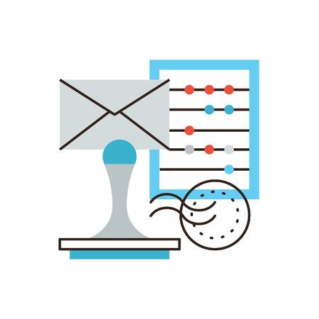 Dünne Linie Symbol mit Flachgestaltungselement der Unternehmensbuchhaltung, Geschäftskorrespondenz, Berechnung der Steuer, die Überprüfung der Jahresrechnung. Moderne logo Vektor-Illustration Konzept. Standard-Bild - 38866762
