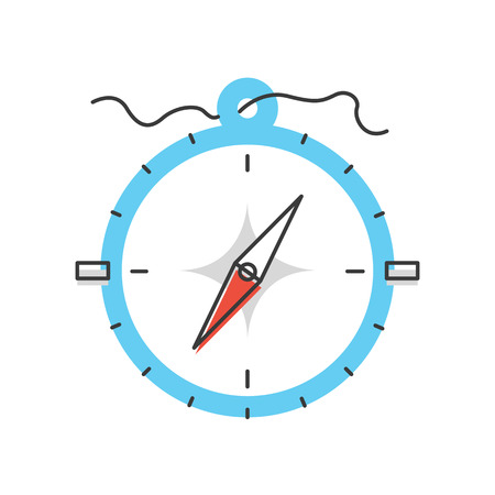 Thin line icon with flat design element of compass navigation, business direction, wind rose, adventure and travel instrument, right path for road way. Modern style logo vector illustration concept.