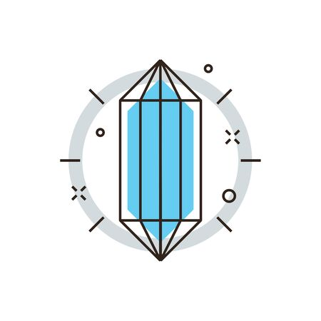 main idea: Thin line icon with flat design element of core idea, crystal structure, polygonal geometric shape abstract main data, basic form construction. Modern style logo vector illustration concept.