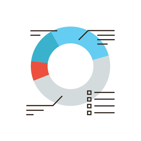 Thin line icon with flat design element of successful sales chart, market statistics, corporate diagram, annual financial statement report. Modern style logo vector illustration concept.
