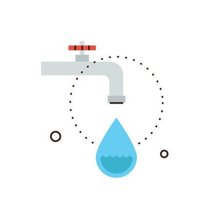 leaking: Thin line icon with flat design element of dripping tap, leaking from faucet, economy water, drop of liquid, saving environmental, plumbing service. Modern style logo vector illustration concept.