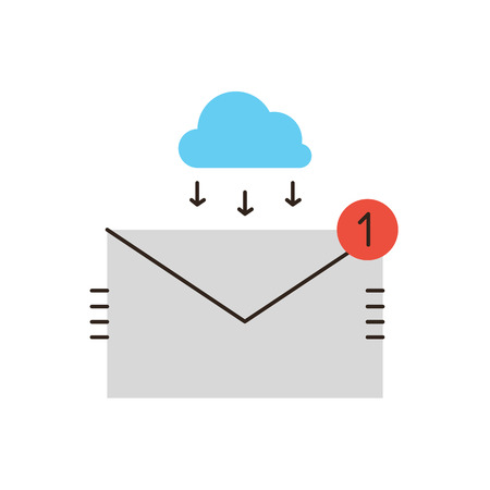 direct marketing: Thin line icon with flat design element of unread email, business mail communication, connect to cloud, connection to inbox, received letter. Modern style logo vector illustration concept.