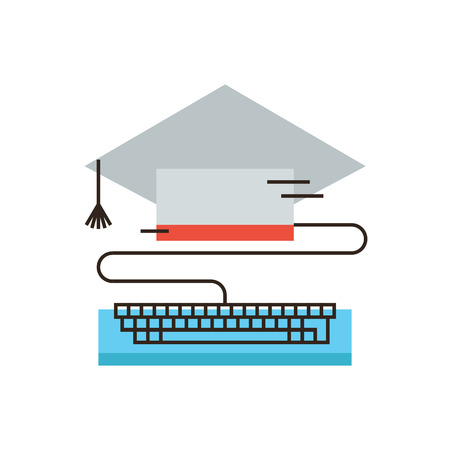educativo: Icono de línea delgada con elemento de diseño plano del e-learning global, la educación en línea, la enseñanza de Internet, de la graduación de la universidad, estudio a distancia. Logotipo del estilo de ilustración vectorial moderno concepto.