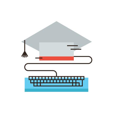 vzdělávací: Tenký ikona linka s plochým designovým prvkem globální e-learning, on-line vzdělávání, internet vzdělávání, vysoké školy, dálkové studium. Moderní styl logo vektorové ilustrace koncept.