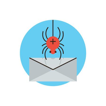 accessing: Icono de la l�nea delgada con elemento plano de dise�o de email ataque spyware, protecci�n contra el malware, virus de internet para acceder a correo electr�nico del ordenador, violaci�n de la seguridad web. Logotipo del estilo de ilustraci�n vectorial moderno concepto. Vectores