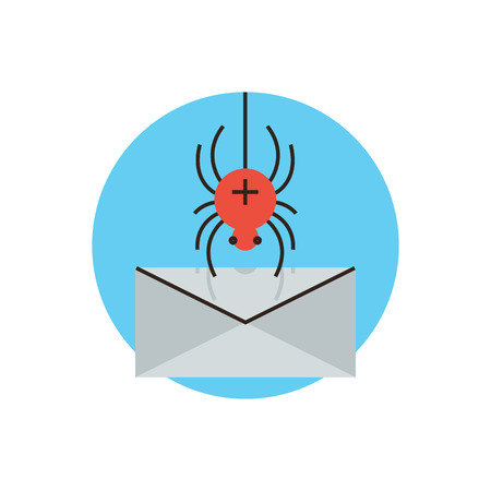 breach: Thin line icon with flat design element of spyware attack email, protection against malware, internet virus accessing computer mail, web security breach. Modern style logo vector illustration concept. Illustration