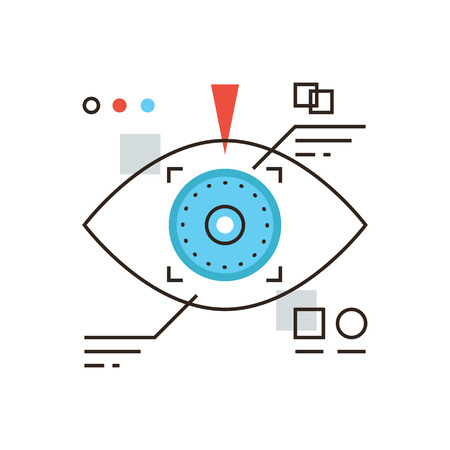 focus on: Thin line icon with flat design element of cyber eye vision, eyetap future display, virtual reality technology, personal identification by eye retina. Modern style logo vector illustration concept.