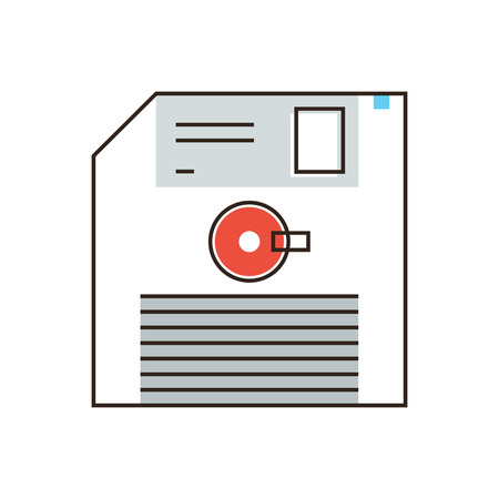 the outdated: Thin line icon with flat design element of floppy disk, save file, record information, data on retro diskette, media info, outdated memory. Modern style logo vector illustration concept.