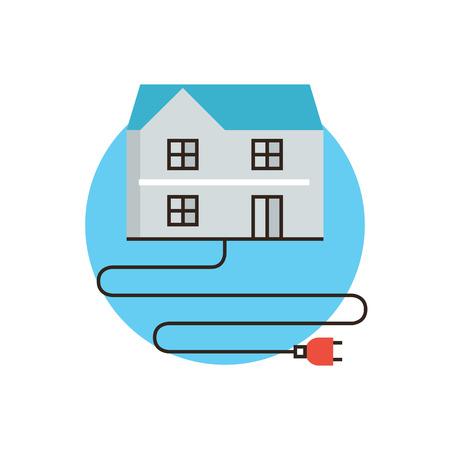 electricidad: Icono de la línea delgada con elemento plano de diseño de la electricidad en casa, economía energía, cable de alimentación eléctrica, cable de alta tensión, el consumo de energía en casa. Logotipo del estilo de ilustración vectorial moderno concepto.