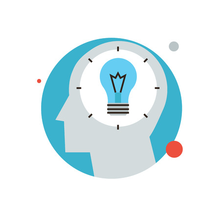 contemplate: Thin line icon with flat design element of bright idea in human head, success human solution, lightbulb lamp, eureka in problem solving. Modern style logo vector illustration concept. Illustration