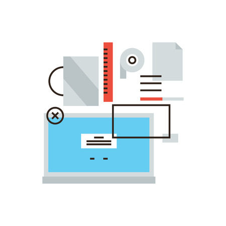 productive: Thin line icon with flat design element of business lifestyle, office equipment, manager laptop, desk items, productive occupation workflow. Modern style logo vector illustration concept. Illustration