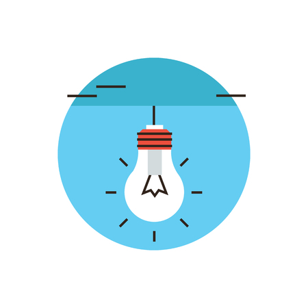 thin bulb: Thin line icon with flat design element of electric light bulb, creative idea, bright lamp, innovative solution. Modern style logo vector illustration concept. Illustration