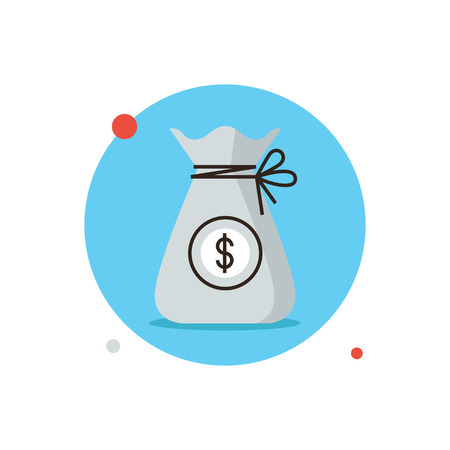 Thin line icon with flat design element of bag of money, financial investment, accumulation of wealth, bank assets, liquidity funds, banking finance. Modern style logo vector illustration concept.