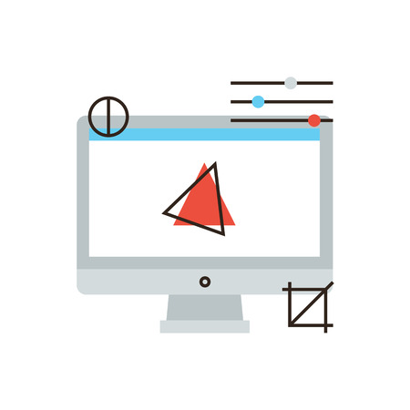 design process: Thin line icon with flat design element of computer graphics, motion design process, development of digital art, 3D modeling software. Modern style logo vector illustration concept.