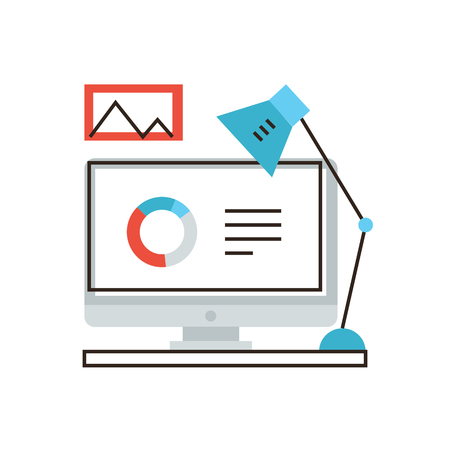 analytic: Thin line icon with flat design element of business computer workflow, office analytic workspace desk, work table with graph picture. Modern style logo vector illustration concept. Illustration