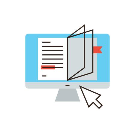 eğitim: Okuyan internet düz tasarım elemanı, çevrimiçi kitabın, okuma öğretici, uzaktan eğitim, okuma metni, uzaktan eğitim ile ince çizgi simgesi. Modern stil logosu vektör illüstrasyon kavramı. Çizim