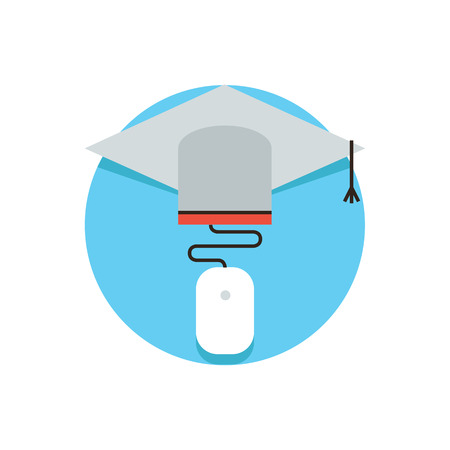 computer education: Thin line icon with flat design element of online education, distance education university, master cap, knowledge for graduation, Modern style logo vector illustration concept. Illustration