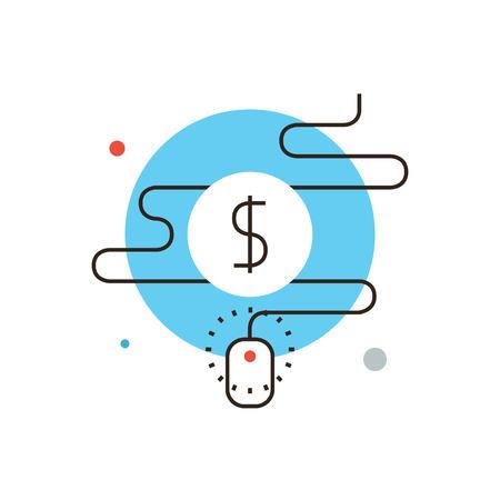 交通: 細い線アイコン クリックごとの支払の平らな設計要素とアフィリ エイト プログラム、インターネット マーケティングの商取引、クイック紹介のトラフィック、広  イラスト・ベクター素材