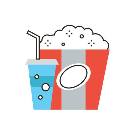 unhealthy: Icono de la l�nea delgada con elemento plano de dise�o de alimentos poco saludables, refrigerios para pel�cula, beber Coca-Cola Light, el paquete de palomitas de ma�z grande, comida para el cine. Logotipo del estilo de ilustraci�n vectorial moderno concepto.