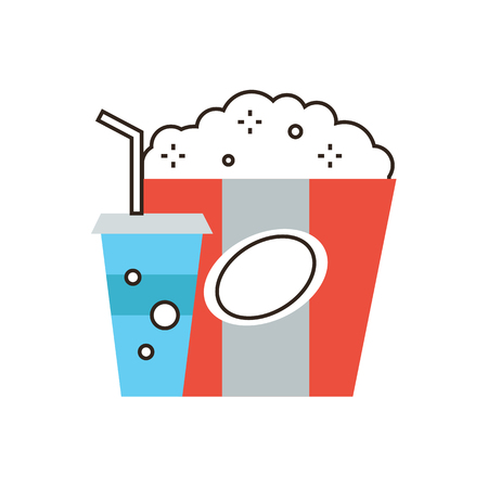 Thin line icon with flat design element of unhealthy food, snacks for movie, drink diet coke, large popcorn pack, meal for cinema. Modern style logo vector illustration concept. Vector