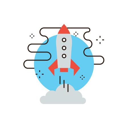 mision: Icono de línea delgada con elemento de diseño plano del despegue del transbordador espacial, astronomía misión de exploración, lanzamiento del cohete, viaje en nave espacial. Logotipo del estilo de ilustración vectorial moderno concepto.