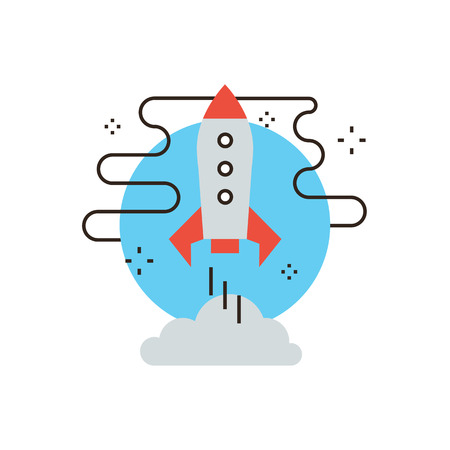 Thin line icon with flat design element of space shuttle takeoff, astronomy exploration mission, rocket launch, travel by spaceship. Modern style logo vector illustration concept. Ilustração