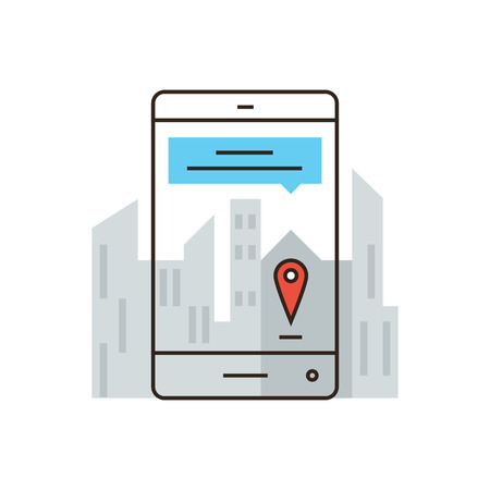 locality: Thin line icon with flat design element of online mapping on smartphone, mobile city map, information about streets, virtual mark, specific location. Modern style logo vector illustration concept.