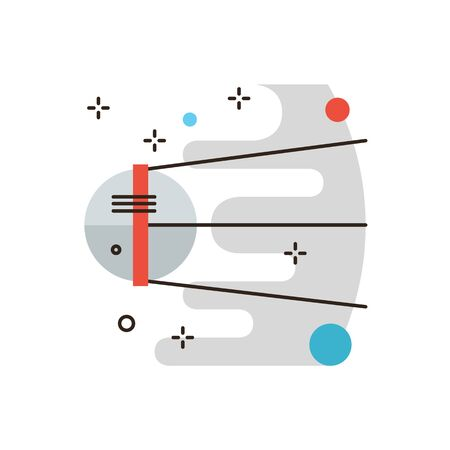 sputnik: Thin line icon with flat design element of sputnik discovery travel, space research, cosmos exploration, astronomy mission, spaceship flying. Modern style logo vector illustration concept.
