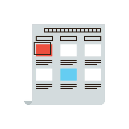 story: Thin line icon with flat design element of abstract storyboard, making story movie layout, professional production film, mounting filmstrip. Modern style logo vector illustration concept. Illustration