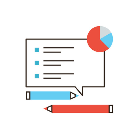results: Thin line icon with flat design element of checklist analysis, market monitoring, survey list, feedback form, poll questions, marketing research. Modern style logo vector illustration concept.