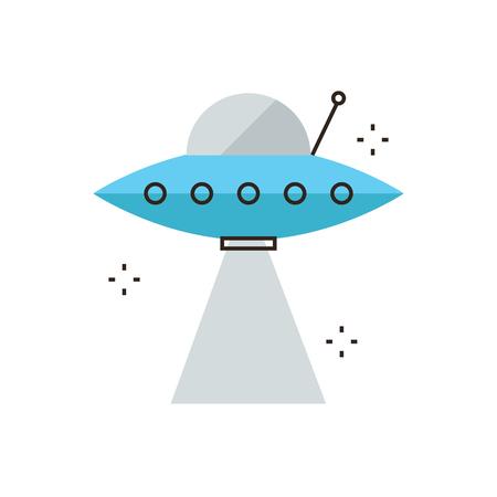unidentified: Icono de l�nea delgada con elemento de dise�o plano de la nave espacial OVNI con rayo de luz, objeto volador no identificado, futurista industria del espacio, la tecnolog�a alien�gena. Logotipo del estilo de ilustraci�n vectorial moderno concepto.