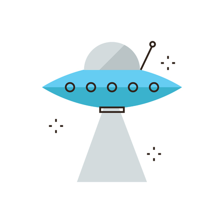 unidentified flying object: Thin line icon with flat design element of UFO spaceship with light ray, unidentified flying object, futuristic space craft industry, alien technology. Modern style logo vector illustration concept.