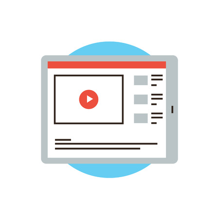 Thin line icon with flat design element of video player interface on digital tablet, media app for streaming playing, video-sharing website with playback. Modern style logo vector illustration concept.