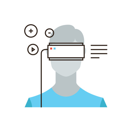 Thin line icon with flat design element of virtual reality headset device, person wearing head mounted display, augmented reality video game. Modern style logo vector illustration concept. Illustration