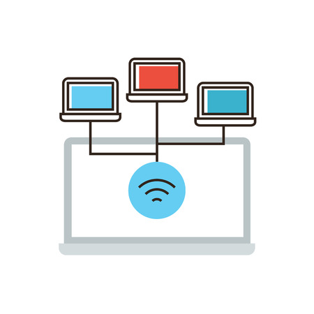 communication concept: Thin line icon with flat design element of wireless network connection, computer networking, communication technology, laptop wifi connect. Modern style logo vector illustration concept. Illustration