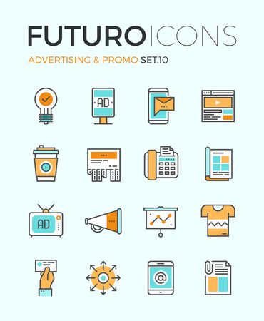 Line icons with flat design elements of advertising material, digital marketing, product promotion, merchandising object, outdoor billboard. Modern infographic vector pictogram collection concept. Vector