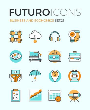 企業経済学、グローバル市場戦略ビジョン、パートナーシップ チームワーク組織のフラットなデザイン要素を持つ線のアイコン。モダンなインフォ