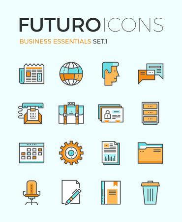 Line-Icons mit flachen Design-Elemente der Business Essentials Objekt, alltägliche Office-Tools, professionelle Lösung Produkte, die globale Kommunikation. Moderne Infografik Vektor-Logo Piktogramm Sammlung Konzept.