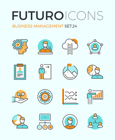business solution: Line icons with flat design elements of business people organization, human resource management, company seminar training, career progress. Modern infographic vector logo pictogram collection concept.
