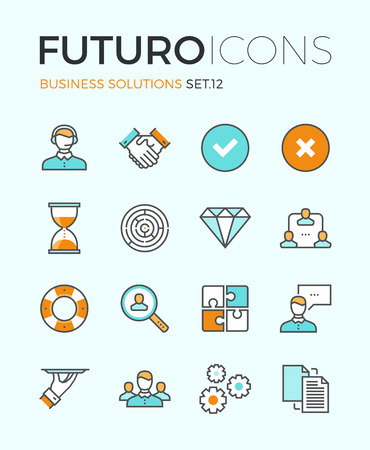 Line icons with flat design elements of customer service, client support, success business management, teamwork cooperation process. Modern infographic vector logo pictogram collection concept. Vettoriali