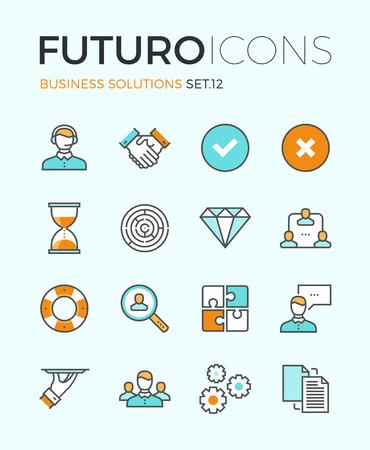 trabajo: Línea iconos con elementos de diseño planas de servicio al cliente, soporte al cliente, gestión de negocios de éxito, el proceso de cooperación del trabajo en equipo. Concepto infografía moderna vector logo colección pictograma.