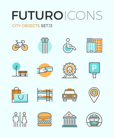 도시 여행 기호 및 개체, 교통 인프라, 박물관 건축, 휴가 여행의 평면 디자인 요소 라인 아이콘. 현대 인포 그래픽 벡터 로고 그림 컬렉션 개념입니다. 일러스트