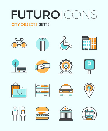 Line icons with flat design elements of city travel sign and objects, transportation infrastructure, museum architecture, trip on vacation. Modern infographic vector logo pictogram collection concept.